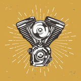 Vintage moto engine with retro star burst. Hight detailed vintage moto engine with retro star burst, motorbike engine, vector stock illustration Stock Photo