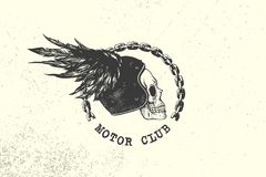 Vintage Motor Club Sign and Label with chain, skull, helmet and wing. Emblem of bikers and riders. Stock Images