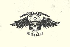 Vintage Motor Club Sign and Label with skull, helmet and wings. Emblem of bikers and riders. Stock Photos