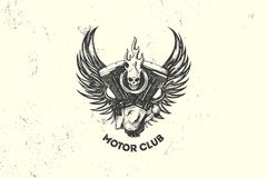 Vintage Motor Club Sign and Label with motor, skull and wings. Emblem of bikers and riders. Stock Images
