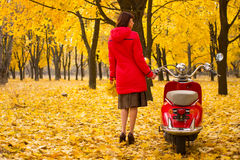 Vintage motorcycle in the autumn forest. Stock Images