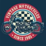 Vintage motorcycle badge design stock illustration