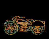 A vintage motorcycle card. In colors, isolated and grouped objects against black Stock Photo