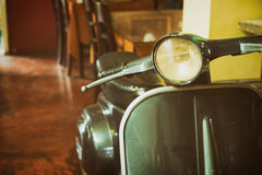 Vintage motorcycle. Decorations in the cafe coffee shop. retro color effect styles royalty free stock images