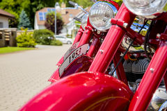 Vintage Motorcycle Detail. Vintage motorcycles in a row. Detailed view on headlights and front fenders Stock Photography