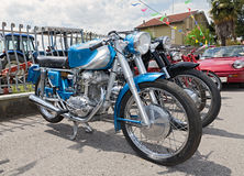 Vintage motorcycle Ducati. Vintage italian motorbike Ducati single cylinder engine in rally of classic cars and motorcycles during the feast Villarottainfesta on Royalty Free Stock Photo