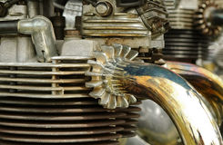Vintage motorcycle engine. And exhaust Stock Photo