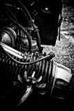 Vintage motorcycle engine detail. A black and white rendition of a boxer style motorcycle engine Stock Images