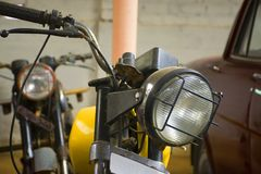 A Vintage Motorcycle From The Front. Photograph of a vintage motorcycle from front, spotted in rural India Royalty Free Stock Image