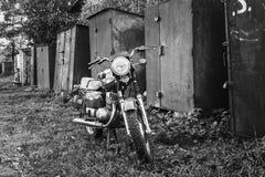 Vintage Motorcycle Generic Motorbike In. Old Red Motor Cycle Parked On Yard. Vintage Generic Motorcycle Motorbike In Countryside Stock Photos
