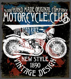 Vintage motorcycle. Hand drawn grunge vintage illustration with Royalty Free Stock Photography