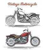Vintage motorcycle hand-drawn illustration Stock Image