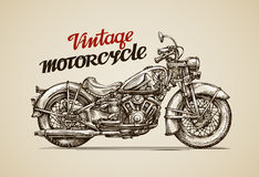 Vintage motorcycle. Hand drawn motorbike. Stock Photo