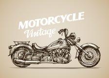 Vintage motorcycle. Hand drawn retro motorbike. Vector illustration Stock Photography