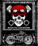 Vintage Motorcycle hand drawn vector skull helmet tee graphic de Stock Photography