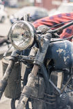 Vintage motorcycle headlight and metal toolbox. Detail Royalty Free Stock Photos
