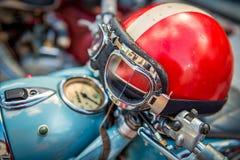 Vintage Motorcycle helmet. Retro motorcycle helmet, blue motorcycle Stock Photos