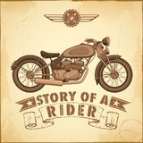 Vintage Motorcycle. Illustration of vintage motorcycle on retro background Royalty Free Stock Photos