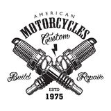 Vintage motorcycle label concept. With inscriptions and crossed engine spark plugs isolated vector illustration royalty free illustration