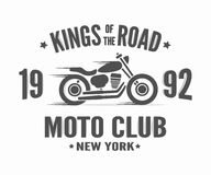 Vintage motorcycle label t-shirt design Royalty Free Stock Photography