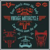 Vintage motorcycle labels, badges and design Stock Photography