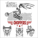 Vintage motorcycle labels, badges and design Royalty Free Stock Photos