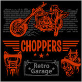 Vintage motorcycle labels, badges and design Stock Image