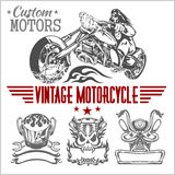 Vintage motorcycle labels, badges and design Royalty Free Stock Images