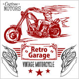 Vintage motorcycle labels, badges and design Stock Photo