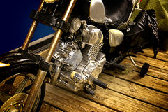 Vintage Motorcycle. A vintage motorcycle motor shot close-up with detail Stock Image