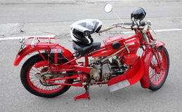 Vintage motorcycle. Old and rare red motorcycle Moto Guzzi Royalty Free Stock Photo