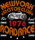 Vintage motorcycle poster t shirt graphic design Royalty Free Stock Image