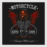 Vintage motorcycle print. Monochrome on dark Royalty Free Stock Images