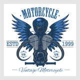 Vintage motorcycle print. Monochrome on white Royalty Free Stock Image