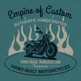 Vintage motorcycle for printing with grunge texture. Old school Royalty Free Stock Image