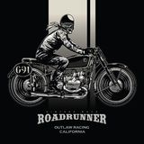 Vintage motorcycle race poster royalty free illustration