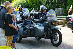 Historic motorcycle with a sidecar. Warsaw, Poland royalty free stock photography