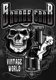 The Vintage Motorcycle skull2. Image illustration a BIKER COMMUNITY for idea PATCH and Tee Shirt, clothing, apparel bikers design Stock Images