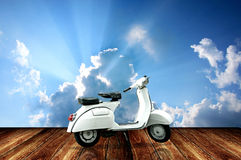 Vintage motorcycle with sky background Stock Photo