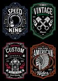Vintage Motorcycle T-shirt Graphic Collection royalty free illustration