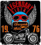 Vintage Motorcycle T-shirt Graphic Royalty Free Stock Images
