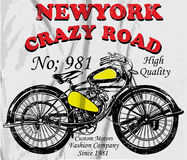 Vintage Motorcycle T-shirt Graphic Royalty Free Stock Photography