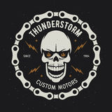 Vintage motorcycle t-shirt graphics. Thunderstorm. Custom motors. Vector illustration. Royalty Free Stock Photo