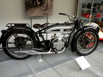 Vintage motorcycle in the technical Museum in Prague. Old nice car. Retro Royalty Free Stock Photos