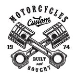 Vintage motorcycle workshop logo. With inscriptions and crossed engine pistons isolated vector illustration royalty free illustration