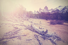 Vintage mountain background with Fitz Roy Range, Argentina Royalty Free Stock Image