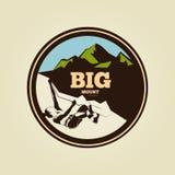 Vintage mountain climbing round logo - sport activity royalty free illustration