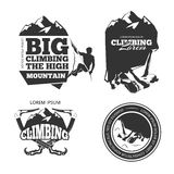 Vintage mountain climbing vector logo and labels set Royalty Free Stock Photography