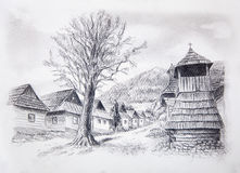 Vintage mountain oldtime willage with wooden houses and belfry, pencil drawing on papier. Stock Photo