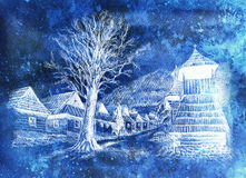 Vintage mountain oldtime willage with wooden houses and belfry, pencil drawing on papier, frozen and invert effect. Royalty Free Stock Photos